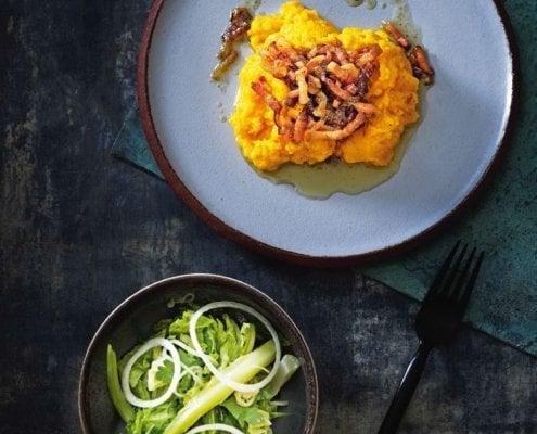 Søtpoteter, økologisk bacon og syrnet løk!