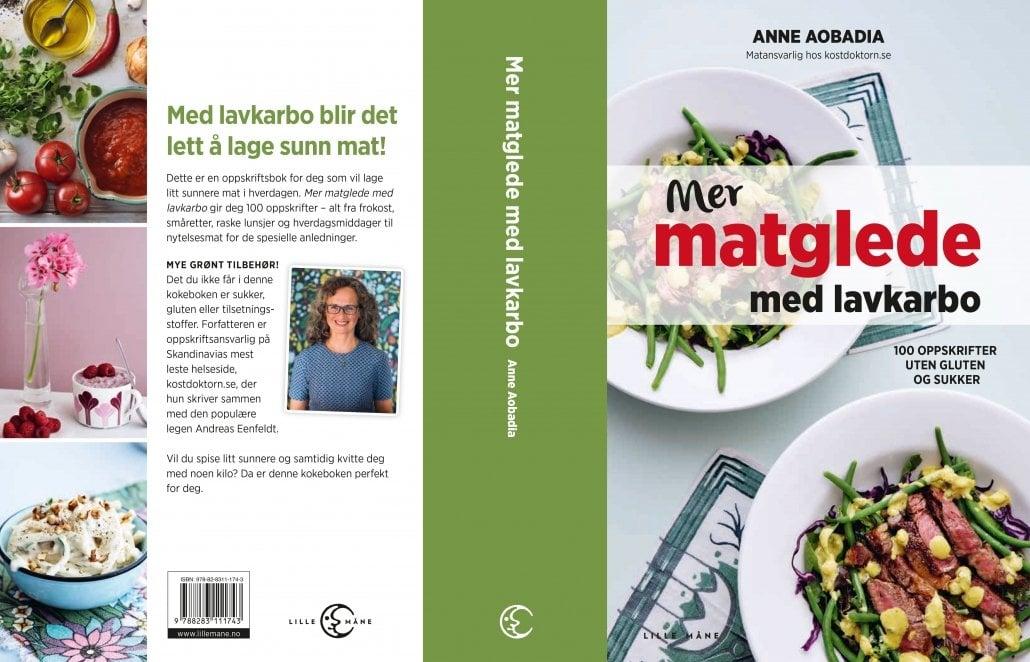 Omslaget til boken Mer matglede med lavkarbo, skrevet av Anne Aobadia, gitt ut på Forlaget Lille Måne (2018)